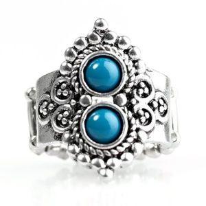 Riverside Radiance Blue Ring Vintage Paparazzi